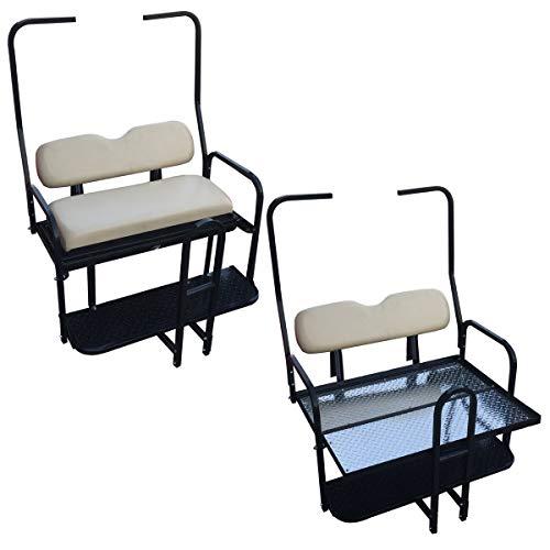 Performance Plus Carts Club Car DS Golf Cart Rear Flip Back Seat Kit for 1982-2000.5 - Factory Buff - Light Tan