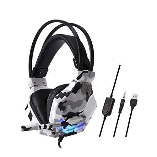 MGWA Auriculares para videojuegos con cable de camuflaje, auriculares para videojuegos, auriculares estéreo de 3,5 mm, para N-Switch (color gris)
