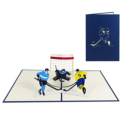 3D Pop Up Karte Hockey Geburtstagskarte Grußkarte Glückwunschkarte Sport Hobby - Eishockey 030