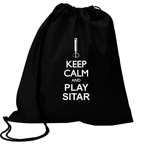 Idakoos Keep Calm and Play Sitar - Silhouette Sport Bag