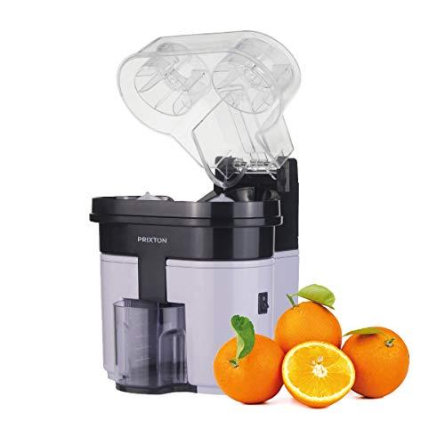 PRIXTON - Exprimidor Electrico de Naranjas Profesional para Zumo, Exprimidor Automatico con Doble Cabezal y Cortador Incoporado, Potencia de 90 W y Capacidad de 0´5 L, Color Gris y Negro| XP3