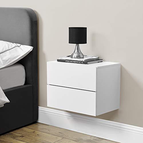[en.casa] Wandschrank 40x29x30cm Wandregal Weiß Nachttisch Hängeregal mit 2 Schubladen Wandboard Wand-Schuhblade Nachtschrank