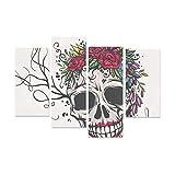 WYYWCY 4 pièces H.o.m.e décoration Murale crâne Humain Fleur Couronne Mur Art Toile sans Cadre Salon Bureau hôtel décor à la Maison Cadeau