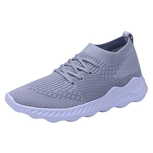 TIOSEBON Women's Walking Shoes Lightweight Breathable Running Sneakers 5 US Gray