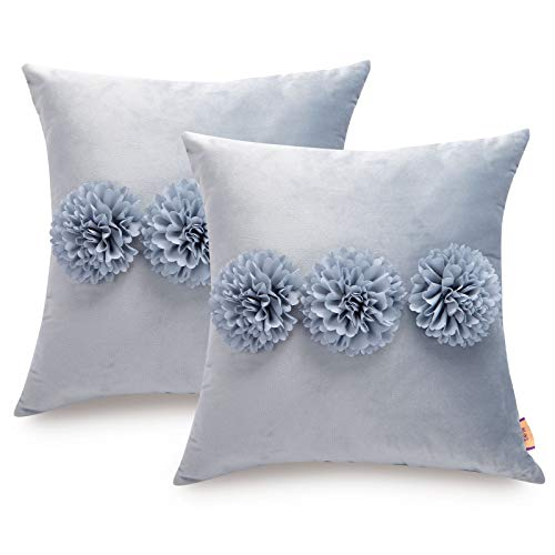 Tayis Cushion Covers 18x18 inch,Soft Velvet Floral Flower Decorative Pillowcase,Throw Pillow Cover for Sofa Bedroom Couch Bed Chair (Blue,Pack of 2)