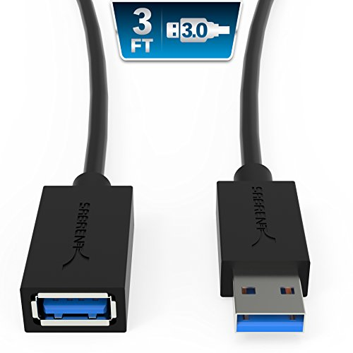 Sabrent 22AWG USB 3.0 Extension Cable - A-Male to A-Female [Black] 3 Feet (CB-3030)
