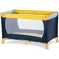 Cuna de viaje Hauck Dream N Play / incluye colchón y bolsa / 120 x 60 cm / desde el nacimiento / portátil y plegable, azul marino amarillo (azul, amarillo)