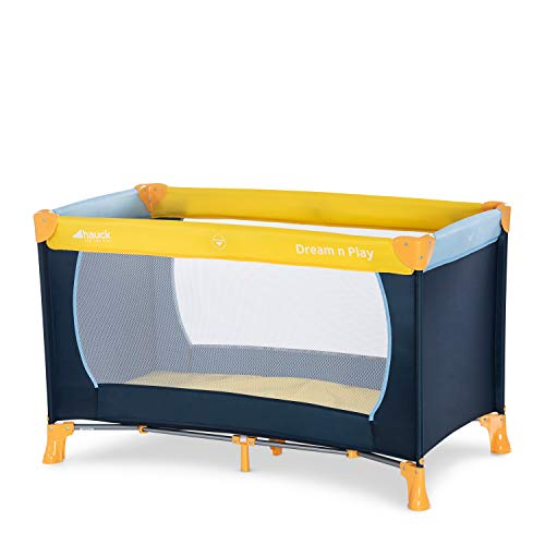 1) Hauck / Dream N Play / Lit Parapluie 3 Pièces / 120 x 60 cm / Naissance à 15 kg / avec Matelas et Sac de Transport / Pliable / Transportable / Inversable / Yellow Blue Navy (Bleu Marine)