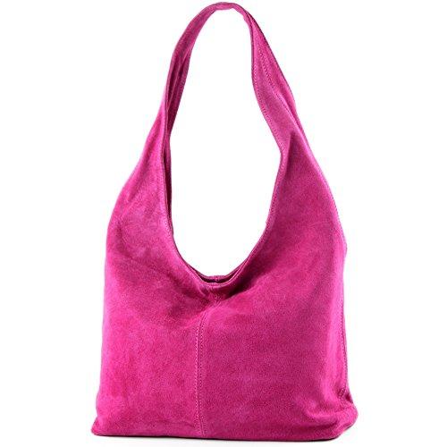 modamoda de - T150 - ital Schultertasche aus Leder Wildleder, Farbe:Pink