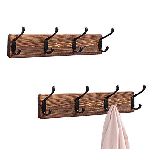 Homode Modern Bamboo Wooden Entryway Coat & Hat Hooks | Bathroom Kitchen Towel Rack | Wall Mounted or Door Adhesive | 4 Pegs (Natural)