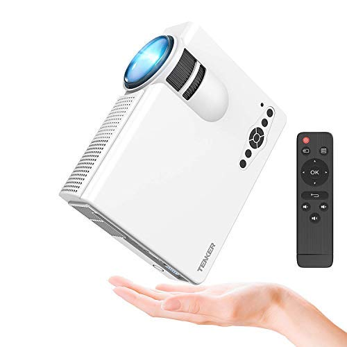 TENKER Upgrade Lumens Q5 Mini Projector, with Big Display LED Full HD Video Projector, Compatible with 1080p HDMI, Fire TV Stick, VGA, USB, AV for Home Theater Entertainment, Party and Games (White)