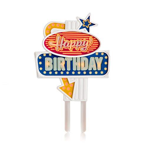 SUCK UK Leuchtender Kuchen-Aufstecker, Happy Birthday, 10 x 8.7 x 1.5 cm