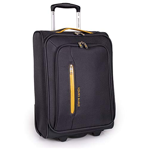 Soft Sided 50cm Suitcase with Wheels - KLM Flybe Emirates Cabin Approved Under 50x34x20 Luggage by Pierre Cardin | TUI Thomas Cook Soft Shell Bag | Light 1.9kg 18' 22L (Carry On, Grey & Orange)