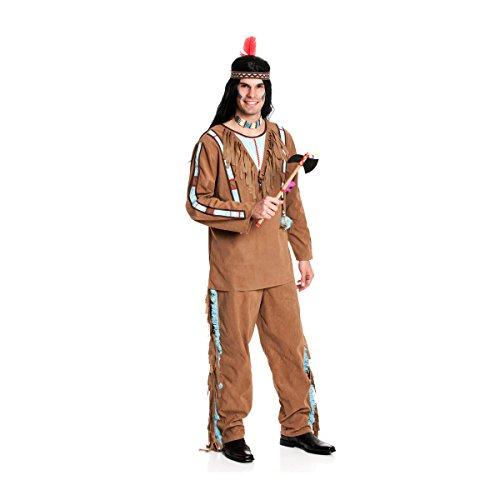 Kostümplanet® Indianerkostüm Herren Indianer-Kostüm Herrenkostüm XXL Karnevalskostüm 60/62