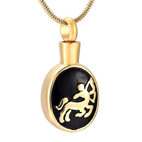 YNNANGG Einäscherung Schmuck Schütze Andenken Urne Halskette Stainess Steel Memorial Medaillon Anhänger Schmuck Für Damen Und Herren-Gold