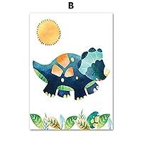 ポスター漫画恐竜ココナッツの木太陽保育園の壁アートキャンバス絵画北欧のポスターとプリント壁の写真リビングルームの装飾