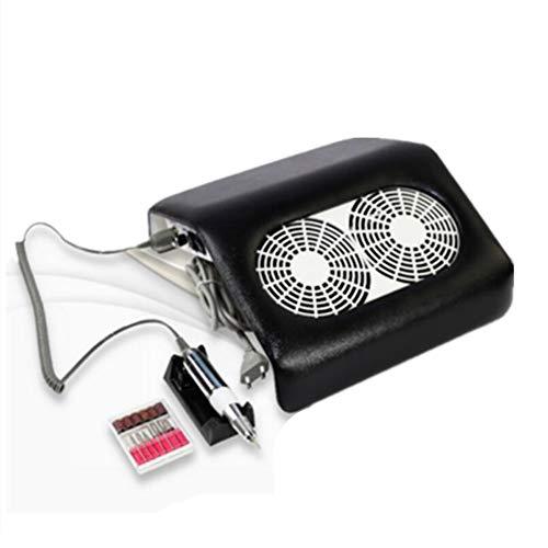 2 in 1 nagelstofzuiger elektrische nagelfrees nageldroger 2 fans salon kunst afzuiging stof collector manicure pedicure machine apparaat kit zwart