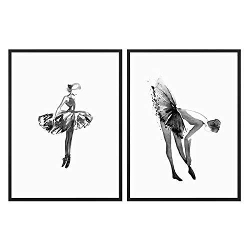 PHOTOLINI 2er Set Design-Poster No.32 mit Bilderrahmen Schwarz 30x40 cm Ballerina Aquarell Schwarz-Weiss Ballet Bild