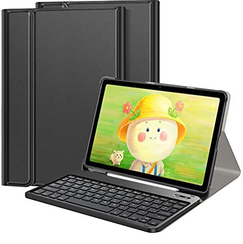 IVSOTEC Funda con Teclado Español Ñ para Samsung Galaxy Tab S7 11 Pulgadas 2020, Bluetooth Teclado Extraíble para Samsung Galaxy Tab S7 SM-T870/875/T878 2020,Negro