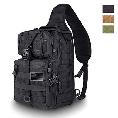 HAOMUK Tactical Sling Bag Pack Military Rover Schulter Sling Rucksack EDC Molle-Assault Range Bag Everyday Out Carry Wickeltasche Tragetasche mit USA-Flagge Patch klein