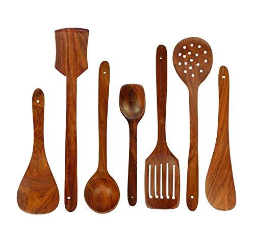 Ereteken ART Wooden Non-Stick Serving and Cooking Spoon Kitchen Tools Utensil, Set of 7