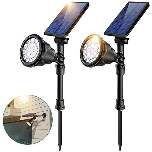 JSOT Solarlampen für Außen, 18 LED Solarleuchte Garten mit Bewegungsmelder Aussen 4 Beleuchtungsmodi Solarleuchten Aussen Wasserdichte Wandleuchte für Wand, Rasen, Gehweg - Weißes Licht, 2 Stück