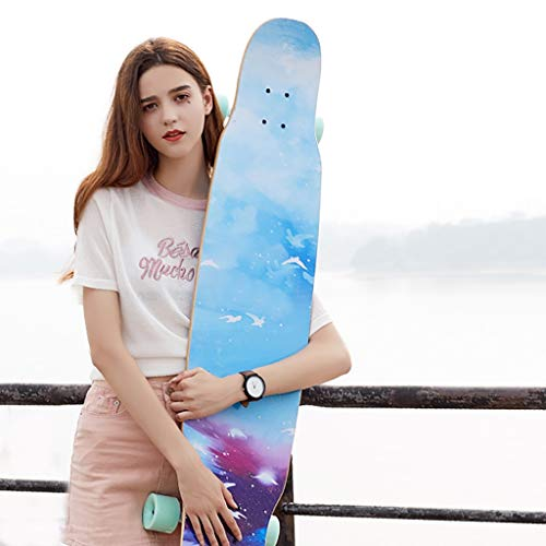 FTTH&YAG 46.5' X 10' Complete Skateboard for Kids & Adults, 7 Layer Maple Double Kick Skate Board for Extreme Sports and Outdoors, Skateboards for Beginners &Pro, Carver Skateboard surfSkate