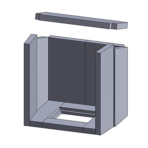 Kaminofen Vermiculiteplatten passend für Hark ALERO 1 & ALERO 2 (ab 04/2009), 703, 703M, OPOS (ab 05/2009) - Set 11-teilig Feuerraumauskleidung