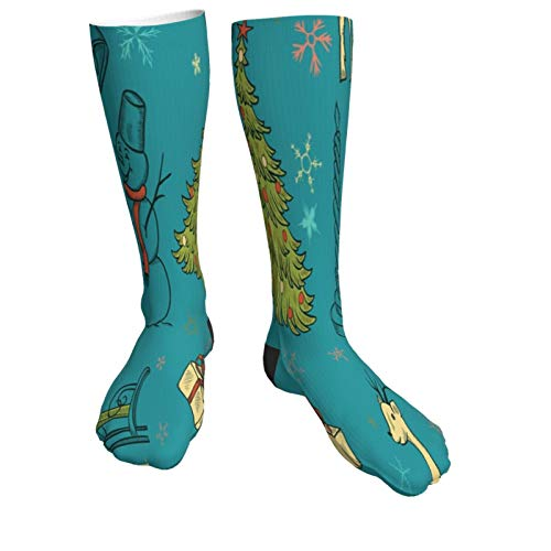 Christmas Trees Snowman Deer Warm Thick Knee High Knit Socks 50cm