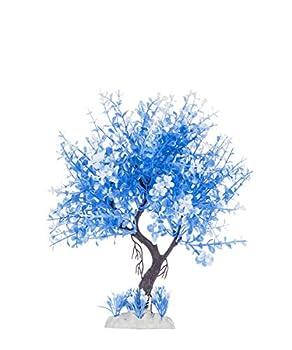 HITOP Pets Plastic Plants for Fish Tank Decorations Large Artificial Aquarium Decor  Blue-White Tree