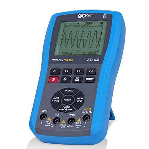 EONE Bluetooth Osciloscopio Multímetro Ohmmetros Frequency meter 4 en 1 Manual automática DC/AC voltaje corriente resistencia de capacitancia;prueba diodos,transistores con retroiluminación LED Tester
