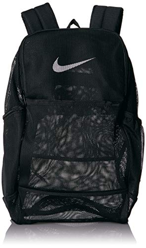 NIKE Brasilia Mesh Backpack 9.0, Black/Black/White, Misc