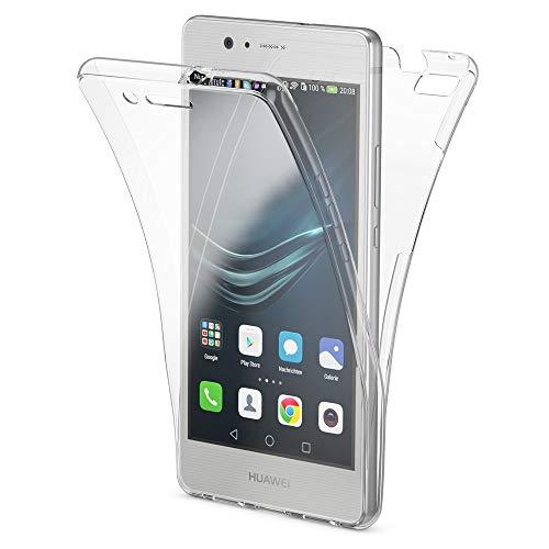 NALIA Funda Carcasa Compatible con Huawei P9 Lite, Protectora 360 Grados, Movil TPU Silicona Ultra-Fina Gel Transparente, Doble Delantera Protección Cubierta Goma Bumper Cover Case - Transparent