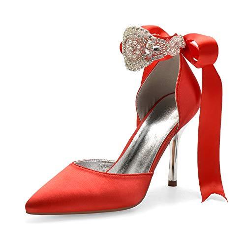 Bequeme Hochzeitsschuhe, Frauen High Heels Satin Kristalle Hochzeit Braut Sandalen Träger Prom Abend Abend Party Kleid High Heels,Rot,43 EU/12...