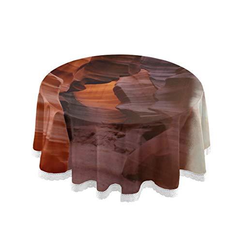 Plsdx Cubiertas Redondas para Mesa de Fiesta Juego de Fundas para Mesa de luz de lámpara y Roca de antílope Canyon Costura de Encaje de 60 Pulgadas Decoración de poliéster macramé