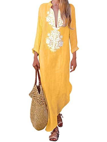 Tomwell Mujer Vestidos Fiesta Largos Elegantes Tallas Grandes Vestidos Casual Playa Falda Amarillo ES 34