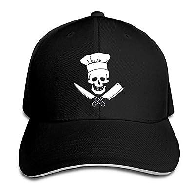 NVJUI JUFOPL Men's Skull Knives Chef Twill Plain Baseball Cap Funny Dad Hat for Kitchen Black