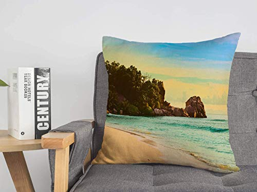 LREFON 18' 2pcs Square Throw Pillowslip SunOn Dusk Abstract Tropical Jungle Beach Seychelles Coastline Nature Parks Cliff Tree Soft Skin-Friendly Pillowcase for Couch Sofa