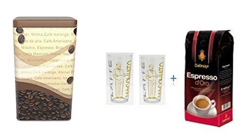 Dallmayr Espresso d´Oro ganze Bohnen + Kaffedose neu passend für 1 KG Kaffeebohnen + 2 Latte Gläser