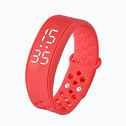 Hunpta Kinderaktivität Verfolger Kinder Schrittzähler Step Counter Fitness Band (Rot)