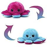 Tintenfisch Kuscheltier 2 Gesichter - Doppelseitiges Flip Octopus Plüschtier - niedliche doppelseitige Flip Octopus Geschenke für Kinder Mädchen Jungen Freundin (Blau+Violett)