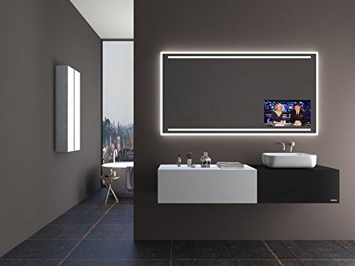 TV Spiegel T405 mit A++ LED Beleuchtung - (B) 150 cm x (H) 60 cm - Made in Germany - Fernseher Badezimmerspiegel Lichtspiegel Badspiegel beleuchtet nach Mass