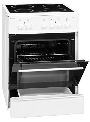 Exquisit Standherd ECM 6-4 | Elektro-Standherd | 60 cm | Glaskeramik-Kochfeld | 61 L Garraum | Weiß