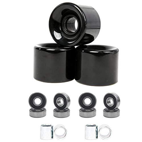 Iycorish - Lote de 4 ruedas para skate (60 mm + ABEC-9 Bearing Steel y espaciadores Cruiser Wheels