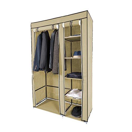 Harima Keep - Armadio-guardaroba, adatto per la camera da letto, doppio, con 2 porte, in tela deluxe; l'ideale per conservare indumenti in modo organizzato in camera da letto; pieghevole e leggero, tessuto non-tessuto, con bastone appendiabiti, colore: Beige