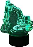 Lámpara de ilusión 3D LED de luz nocturna Excavadora USB Alimentado 16 colores Intermitente Touch Interruptor Dormitorio Decoración Iluminación para Niños Regalo de Navidad