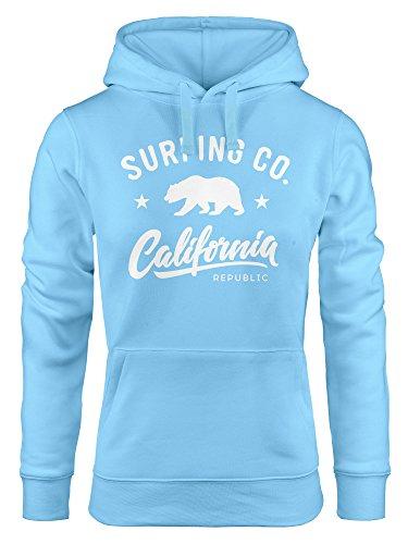 Neverless Hoodie Damen California Republic Bear Bär Sommer Surfing Kapuzen-Pullover hellblau XL
