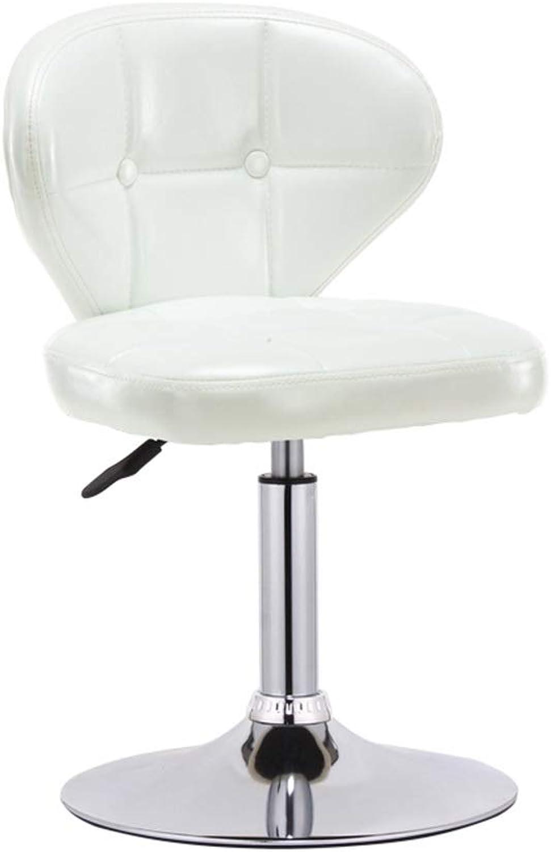 Pu Beauty Stool, Barbershop redatable Barber Chair Metal Armchair Adjustable Height Lounge Chair, 64-80CM (color   White)