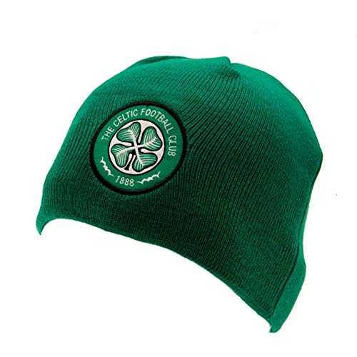 Celtic FC Official Adults Unisex Knitted Dome Hat (One Size) (Green)