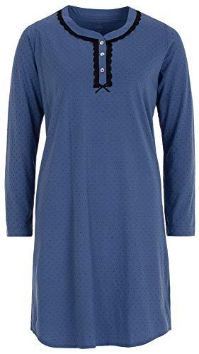 Zeitlos - Damen Nachthemd Schlafshirt Spitze Pünktchen Schleife Langarm Knopfleiste, Farbe:blau, Größe:L